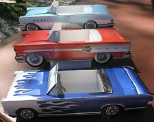3 ~ Classic Cardboard Cars * Food or  Snack Tray * Table Center * Party Planner