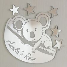 Koala Mirror Personalised Door Name Plaque Boy Girls Bed Room Sign