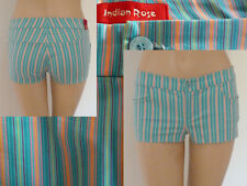 Indian Rose kurze Hose Hot Pants Shorts Girls Stretch Hellblau gestreift 29 XS
