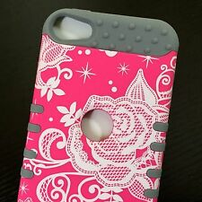 iPod Touch 5th 6th Gen - HARD&SOFT RUBBER HYBRID SKIN CASE PINK GRAY FLOWER ROSE