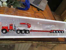 WSI Sword Pete Peterbilt 379 Day Cab w/ roger 4 axle lowboy  1/50 RED/RED