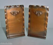 ARTS and CRAFTS Signed CRAFTSMEN Repousse COPPER BOOKENDS Outstanding SMALL PAIR