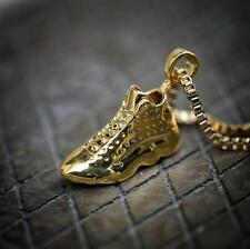 Mens Hip Hop Shoe Pendant Gold Retro 13 Necklace