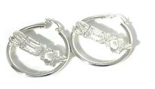 New Pair of 925 Sterling Sexy word Silver Hoop Earrings