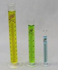 Graduated Cylinder Borosilicate Glass Round Base Lab Zap Set of 3 - 10 50 100mL