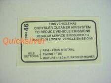 1969 Plymouth Dodge 340 4 speed Transmission Emissions Decal NEW MoPar