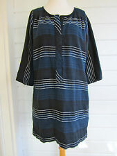 ACE & JIG indigo striped cotton tunic dress thick and soft navy/blue/white-Sz. M