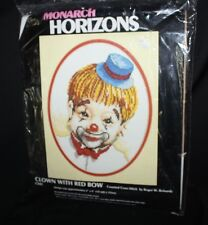 """CLOWN WITH RED BOW counted cross stitch 6x8"""" Monarch Horizons sealed USA"""