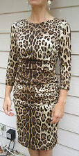 NEW $2825 Dolce & Gabbana 42 6 Brown Animal Print Silk Ruched Dress
