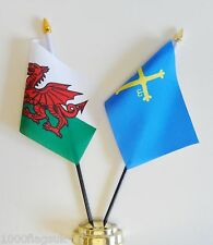 Wales & Asturias Double Friendship Table Flag Set