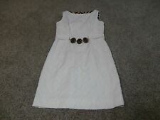 Original Milly Of New York White  Form Fitting Dress, Size 6 Belt Accent