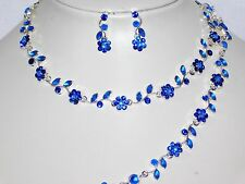 Bridal 3PC Silver Royal Blue Flower Rhinestones Set Necklace, Earrings, Bracelet
