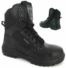 MENS GROUNDWORK SAFETY BOOTS ARMY POLICE STEEL TOE CAP COMBAT WORK SHOES SZ 5-13