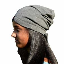 Satin Lined Cap, Beanie, Hat- Adjustable Drawstring Band One Size  -Heather Gray