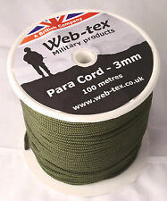 100 Metres Metre Reel Olive Green Web-tex 3mm Paracord Para Cord on a Spool