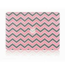 "Pink Chevron with Gray Insert Matte Hard Case Cover for Macbook WHITE 13"" A1342"