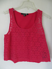 Juniors Forever 21 Magenta Floral Lace Tank Top Size L
