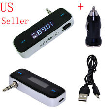 3.5mm FM Transmitter + Car Charger Wireless Radio Adapter for iPhone 4 iPod Nano