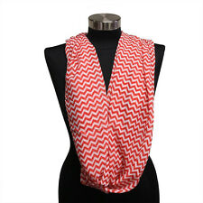 Womens Infinity Chevron Double Loop Cowl Scarf Wrap New Red / White U.S. Seller