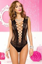 Black Criss Cross Front Cut Out Strappy Teddy Body Sexy Designer Lingerie P8629