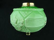 VICTORIAN MOULDED MINT GREEN & GILDED GLASS OIL LAMP FONT, STYLISED DECORATION