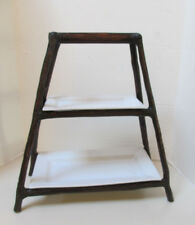 """POTTERY BARN Branch Tiered Serving Stand 16.5"""" l x 8"""" d x 18"""" h with 2 platters"""