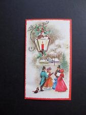 #K600- Vintage Unused Xmas Greeting Card Victorian Holiday Carolers Singing