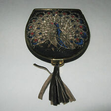 Vintage Embroidered Peacock Powder Compact Mirror Screen Puff Slide Clasp