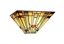 """Mission 12"""" Wall Sconce Light Fixture Arts & Crafts Tiffany Style Stained Glass"""