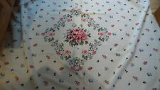Vintage Fabric Rayon, Satin-Like Nylon PINK & BLUE FLOWERS,LG FLOWER IN CENTER