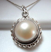 Cultured Pearl 925 Sterling Silver Pendant with Silver Dot Accents Round New