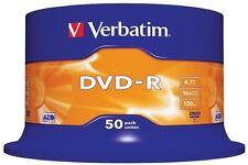 50 DVD -R Verbatim 100 % Vergini Vuoti 16 X 4.7 Gb 120 Min Azo 43548
