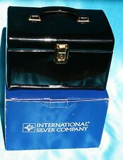 Vintage International Silver Co Black Patent Travel Jewelry Case w/ Key - One