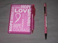 Breast Cancer Awareness Pink Ribbon Pen Notebook Blank Paper NEW!