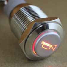 12V Car Auto Red LED Momentary Speaker Horn Push Button Metal Switch 16mm Sales