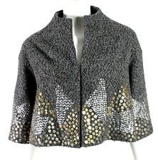 BEHNAZ SARAFPOUR Gray Wool Boucle Brass Metal Beaded Embellished Jacket 2