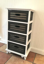 Black White Wood Storage Unit Chest of Drawers Cut Out Handles Shabby Chic Retro