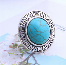 New Arrival Fashion Antique Silver Sky Blue Round Shape Turquoise Ring Adjustab