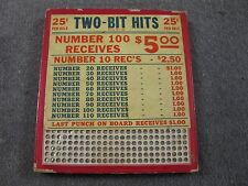 Vintage Punch Board TWO BIT HITS .25 Per Hole Gambling Device #6291 BOX#PB-6