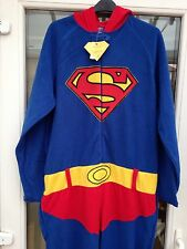 MENS SUPERMAN MENS ONESIE ALL IN ONE NIGHTSUIT SIZE SMALL