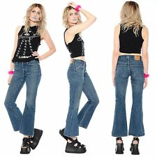 Vtg 90s Abercrombie & Fitch FLARED High-Waist Hippie Club-Kid Bell Bottoms Jeans
