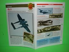 FOKKER G.1  AIRCRAFT FACTS CARD AIRPLANE BOOK 43