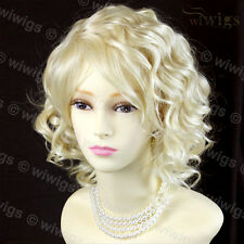 Lovely Short Curly Pale Blonde Summer Style Skin Top Ladies Wigs from WIWIGS UK