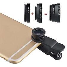 3 en 1 Ojo De Pez+Gran Angular Micro Óptica Kit De Cámara para iPhone 5 4 6S 6