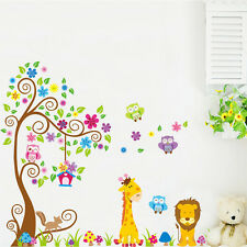 Large Lion Giraffe Owl Tree Removable Wall Decal Stickers Kids Room Home Decor