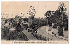 CARTOLINA 1922 BOURG LA REINE (SEINE) RUE ANDRE-THEURIET ET VUE DE LA GARE 7541