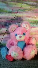 Vintage Brush A Loves Beauty Berry Bear Plush Amtoy TYCO 1987 Pink Blue White