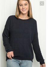 Brandy Melville soft avy blue light weight cable knit pullover ollie sweater NWT