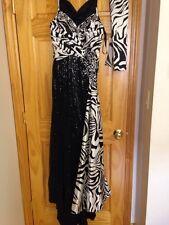 Terani Zebra Leopard Animal Print Sequin Dress Gown Satin Silk Prom Formal 6