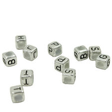 100x Lots Silvery Mixed Letters Square Acrylic Spacer Beads Fit Charm Bracelet J